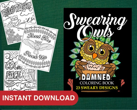 - Adult Coloring Book Owl Coloring Pages 24 Swear Words Etsy