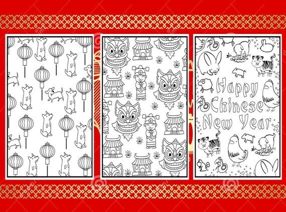 3 Chinese New Year Coloring Pages - Instant Download Activity Book for Kids  and Adults Chinese New Year 2018 Printable Coloring Pages PDF