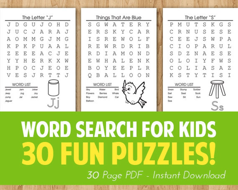 photo relating to Word Search Printable Easy called Instantaneous Obtain - 30 Printable Very simple Enlightening Term Appear Puzzles for Young children, Babies and Preschoolers towards Find out Their 1st Words and phrases Coloration