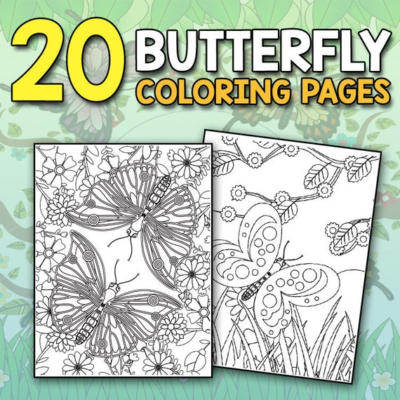 Beautiful Butterflies Coloring Book 20 Adults Butterfly Etsy