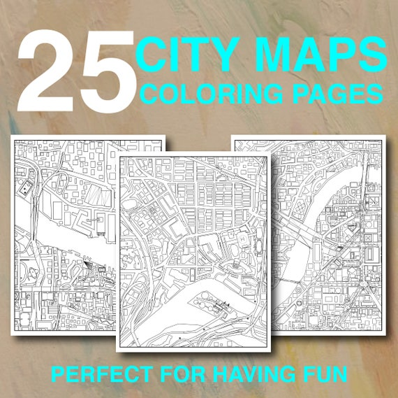 25 City Maps Coloring Pages Instant Download PDF Printable Etsy
