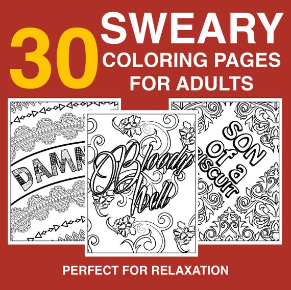 30 Funny Swear Word Coloring Pages Instant Download Etsy