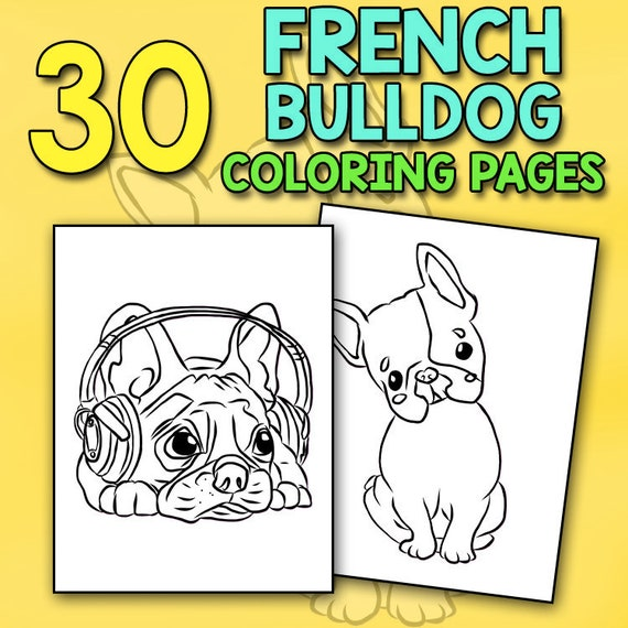 French Bulldog Coloring Book Lovely Puppies Dazzling Dogs Etsy