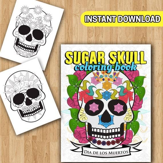 - Dia De Los Muertos Coloring Book Sugar Skull Coloring Day Of Etsy