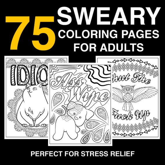 75 Page Swear Word Coloring Book Instant Download Printable Etsy