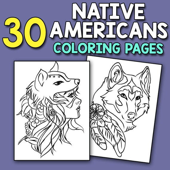 Native American Coloring Book 30 Native Americans Coloring Etsy