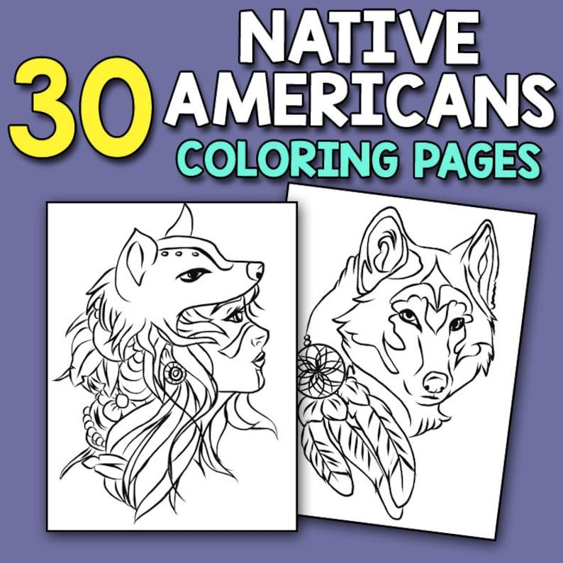 Native American Coloring Book 30 Native Americans Coloring | Etsy