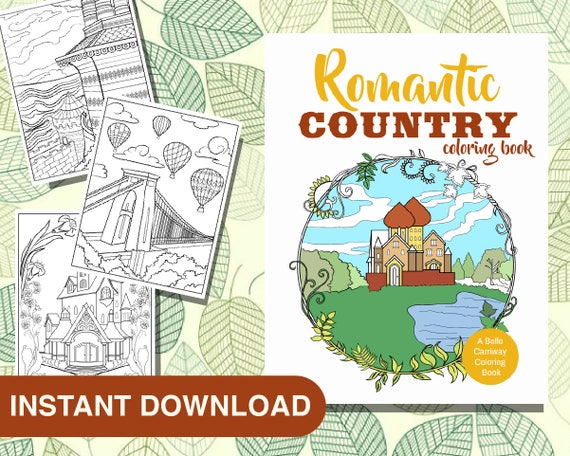 25 Romantic Country Coloring Pages Instant Download Etsy