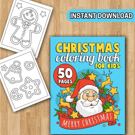 BEST VALUE 50 Christmas Coloring Pages For Kids: Large Print Etsy