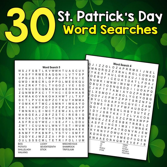 BEST VALUE 30 St. Patrick's Day Word Search Puzzle for