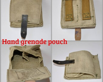 Russian Army USSR Belt Pouch for Hand grenades Two sections Original Soviet  Surplus Unissued Vintage Factory Stamp Zlatoust Canvas F-1 RGD5 2cdeb57a71bc