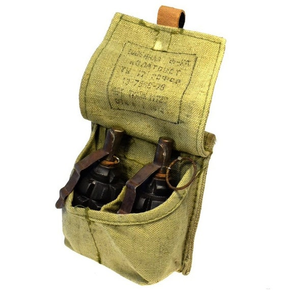 French Three Grenade Pouch Heavy Canvas Pouch Holder Genuine Vintage Free Ship