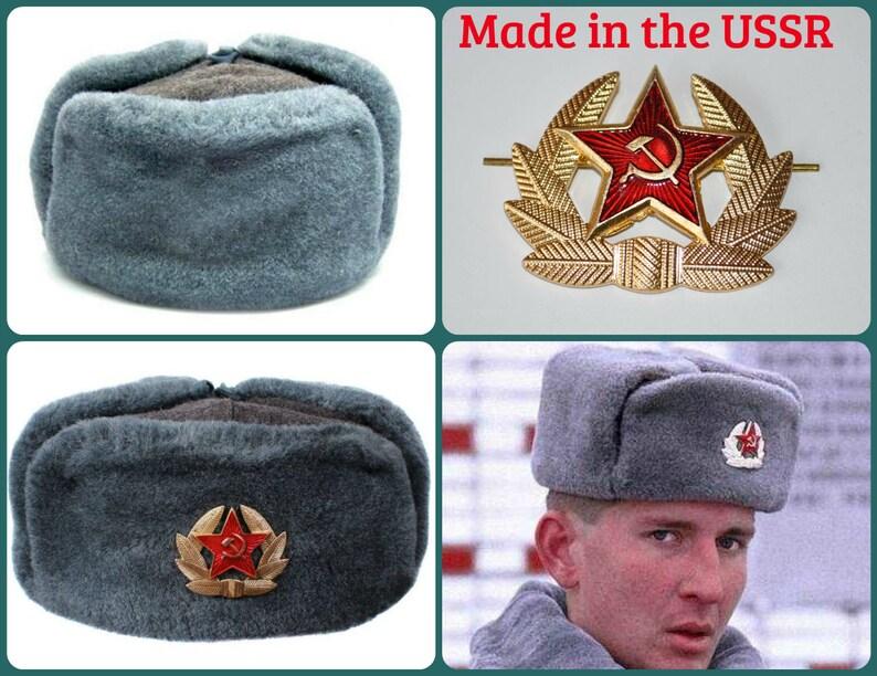 c3b5bbac50b Russian Soviet Shapka Ushanka Hat USSR Army Cockade Hammer