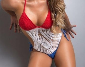 6f54ae4597126 Crochet swimsuit one piece monokini cuba puerto rico usa russia france flag  red white blue honeymoon bathing suit boho gipsy