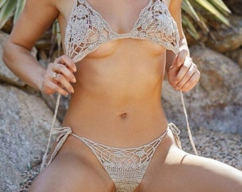 ac9245321aee4 Sexy see through tiny bikini extremely hollow out nudist crochet swimsuit  bathing suit