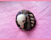 Woman 39 s Handmade Gothic Pin Brooch Alternative Fancy Dress Animal Skull Oddity Pink Purple Metallic Sparkle Party