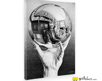 Modern paintings-Escher-Hand with reflecting Sphere-yellow BUS