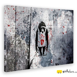 Impression sur Bois MDF Banksy pr/êt /à accrocher 140x100 cm DJ Monkey Giallobus Peinture /à Panneaux Multiples 5 pi/èces