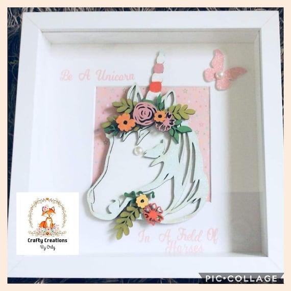 Hand painted Unicorn box frame