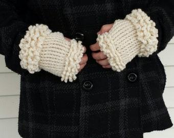 Snow Cloud Fingerless mitts (pdf crochet pattern)