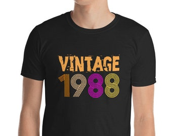 Vintage 1988 Retro Birthday T Shirt 30 Years Old 30th Short Sleeve Unisex Gift Idea