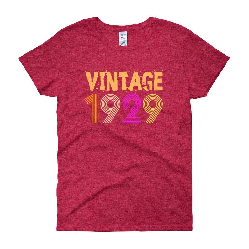 Vintage 1929 Retro Birthday T Shirt 89 Years Old 89th