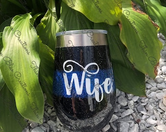 Police Wife Stainless Wine Glass
