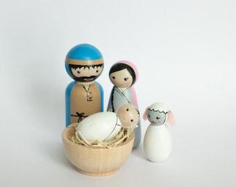 Nativity set, 2 inches tall, wooden peg dolls, Wooden peg Nativity set, lds, handmade, Christmas, Noel, Jesus
