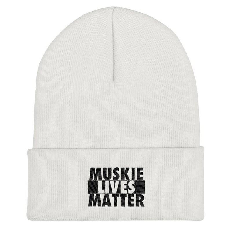 04f1290cf7d6a Muskie Fishing Beanie Musky Lives Matter Winter Fishing Hat