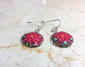 Christmas Poinsettia Earrings