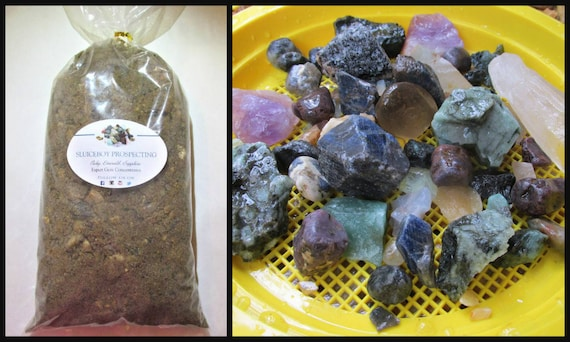 Rough Stone Mix GEM MINING Kit - 10 LBS Gemstone Paydirt,Sieve, & Gem  Identification Chart- Gem Mining Dirt Guaranteed Gems Christmas Gift