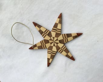 Brown 5-Inch Wooden Star with Bird Ornament