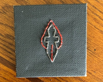 Critical Role Inspired Claret Order Symbol - Mini Canvas Art -  Embroidered Canvas