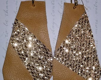 Tan Leather and Gold Reversible CUSTOM EARRINGS