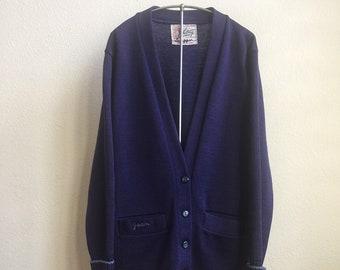 Vintage 50s 60s Whiting Los Angeles purple wool letterman sweater - chain stitch - Joan Schipper