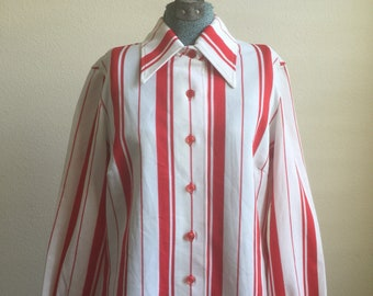 Vintage James Kenrob by Dalton red striped polyester long sleeve button up blouse shirt
