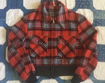 Vintage late 50s mid 60s Fox Knapp distinctive sportswear red plaid cropped jacket - medium