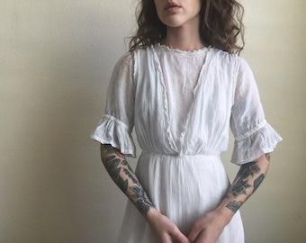 Antique Edwardian white lace lawn tea dress - cotton mesh - ruffles - as is