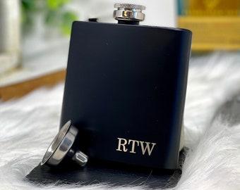Best Man Flask Engagement Gift #FSKSET034 Engraved Name Flask Wooden Gift Set Letter Flask Personalized Flask Groomsmen Flask