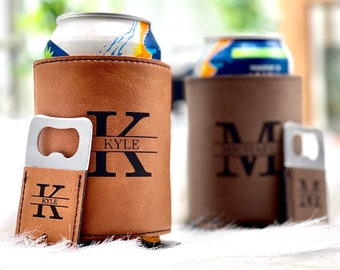 Personalized Can Cooler with Bottle Opener for Groomsmen Gifts