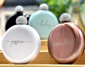 Personalized Round Flasks with Rhinestone Lid for Bridesmaid Gifts