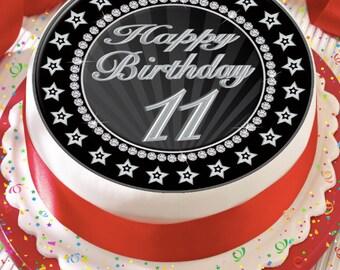 Precut Edible Cake Topper Icing Sheet Decoration 75 Inch Round Age 11 Happy Birthday 11th Silver Grey Black Star Border