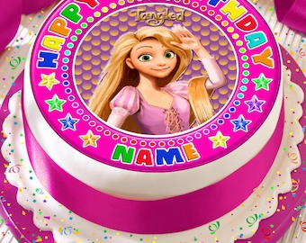 Tangled Rapunzel Pink Personalised With Your Age And Name Precut Edible Cake Topper Icing Sheet Decoration 75 Inch Round
