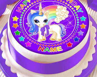 Unicorn Personalised With Your Age And Name Precut Edible Cake Topper Icing Sheet Decoration 75 Inch Round