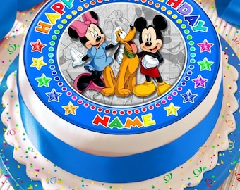 Swell 1St First Birthday Boys Baby Mickey Edible Icing Cake Topper 7 5 Funny Birthday Cards Online Necthendildamsfinfo