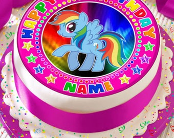 My Little Pony Rainbow Dash Personalised With Your Age And Name Precut Edible Cake Topper Icing Sheet Decoration 75 Inch Round