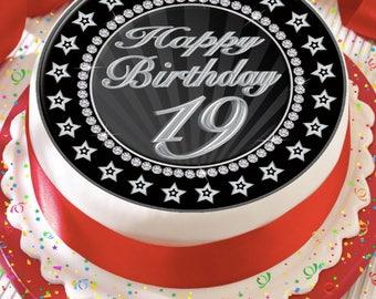 Precut Edible Cake Topper Icing Sheet Decoration 75 Inch Round Age 19 Happy Birthday 19th Silver Grey Black Star Border
