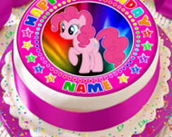 My Little Pony Pinkie Pie Personalised With Your Age And Name Precut Edible Cake Topper Icing Sheet Decoration 75 Inch Round