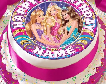 Disco Barbie Personalised With Your Age And Name Precut Edible Cake Topper Icing Sheet Decoration 75 Inch Round