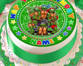 Teenage Mutant Ninja Turtles Personalised With Your Age And Name Precut Edible Cake Topper Icing Sheet Decoration 75 Inch Round